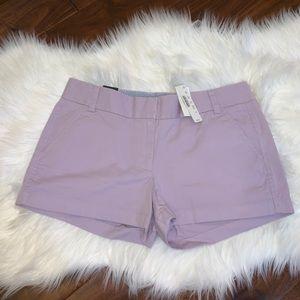 NWT J. Crew Chino Size 6 3 Inch Shorts Purple